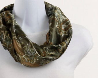 Infinity Scarf - Paisley Copper, Tan and Green Silky ~ SK033-S1