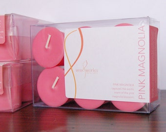 Pink Magnolia - Set of 6 Pink Scented Votive Soy Candles