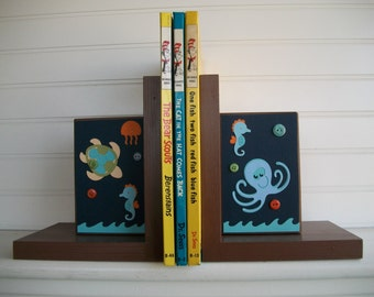 Bookends for Children .Nursery Room Decor . Boutique Bookends. Custom Bookends . Lambs and Ivy  . Bubbles and Squirt