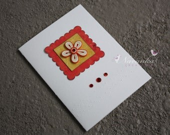 Handmade Greeting Card with Orange and Cream Paper Quililng Flower for All Occasions, Mothers Day