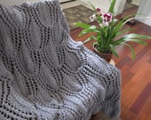 Ready-Made Knit Afghan---------------- DELIGHTFUL in LIGHT GREY