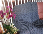 Ready-Made Knit Afghan---------------- ENDEARING in CHARCOAL