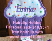 Personalized Hair Clip Holder & 1 Free Hair Clip,  for Girl's Barrettes, Clips, Clippies