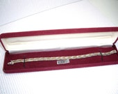 Vintage Gold Sterling Silver Rose Gold Three metals Chevon Pattern 1988