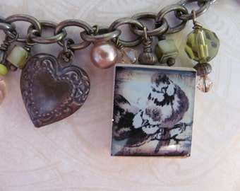 LOVE  Reversible Scrabble Tile Charm Bracelet