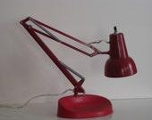 Vintage red Luxo industrial drafting lamp