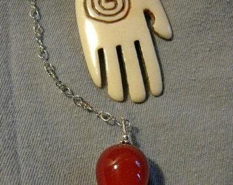 Hand of Fatima Dowsing Pendulum with Carnelian Drop