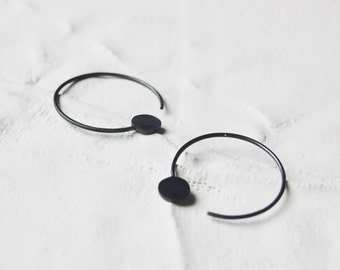 Hoop earrings silver // cycle earrings // geometric earrings N21 // modern earrings // minimal hoops // GM021