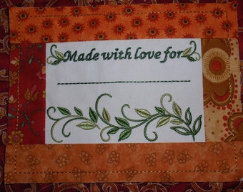 Embroidered Quilt Label Vines with Pieced Frame