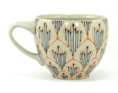 Wheel Thrown Ceramic Cappucino Mug - Coffee Cup with Orange and Navy Blue Pattern