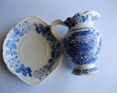 Vintage Blue And White Transfer Ware Pitcher and Plate
