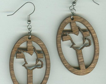 FREE SHIPPING - Cross and Dove Earrings - Laser Cut Wood (ER-101)