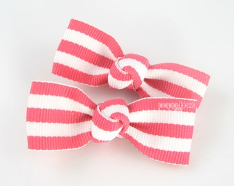 Toddler Hair Clips - Bright Pink and White Taffy Striped 2 Inch Alligator Barrettes for Baby Toddler Girls AP