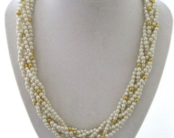 Napier Necklace 6 Strand Gold and Pearl Beads Vintage free USA shipping