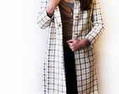 Vtg 60's Pastel Mod Plaid Woven Cream Blue Yellow Jacket with Gold Clasps