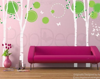 On Sale Trees Wall Decal Nursery Wall Decors Baby Decals- Nice four big birch trees with flying butterflies -Designed by Pop Decors