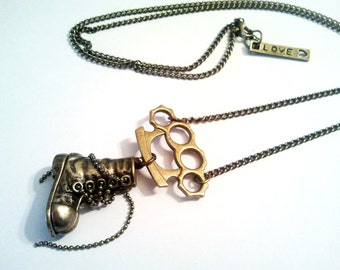 Unique Vintage Bronze Knuckle Duster and Military Shoe Emo Kawaii link chain necklace Israel Hand made
