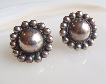 Vintage Mexican Silver Earrings: Domes with Twisted Wire & Silver Drops Border, Classic Mexico Jewelry, Pre-1948, Ranchero Style, Screw Back
