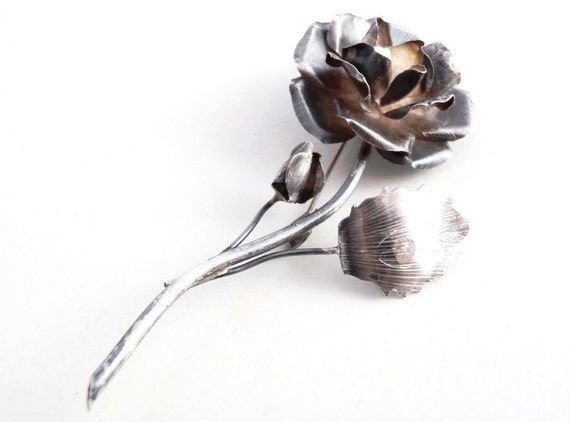 Vintage Mexican Silver Jewelry Sterling Silver Rose Brooch Pin from Taxco with Eagle Mark 3