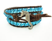 Seahorse Crystal Leather Bracelet Beach Bracelet Friendship Bracelet Beaded Bracelet Leather Wrap Bracelet Boho Bohemian Bracelet Gift