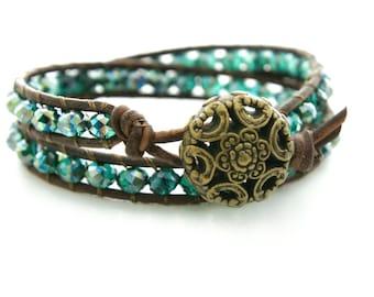 Boho Leather Bracelet Beach Bracelet Friendship Bracelet Beaded Bracelet Leather Double Wrap Bracelet Crystal Bohemian Bracelet Gift for Her