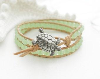 Sea Turtle Leather Bracelet Mint Beach Bracelet Friendship Bracelet Beaded Bracelet Leather Wrap Bracelet Boho Mermaid Nautical Bracelet