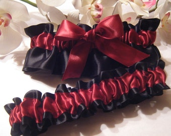 Burgundy Wine & Black Satin Garter Set ~ Available in Plus - Other Colors Available - Wedding Bridal Garter