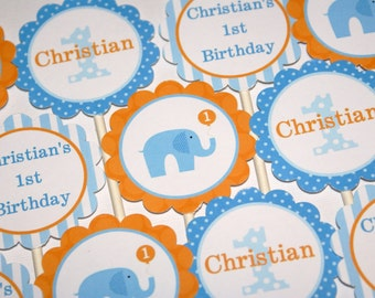 Little Peanut Blue Elephant Cupcake Toppers (Blue & Orange) by The Party Paper Fairy