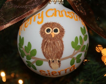 Handpainted Owl Glass Personalized Ornament the owl sitting on a branch