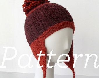 Knit Hat Pattern // Gingerbread Icing Ear Flap Hat - pattern only - PDF