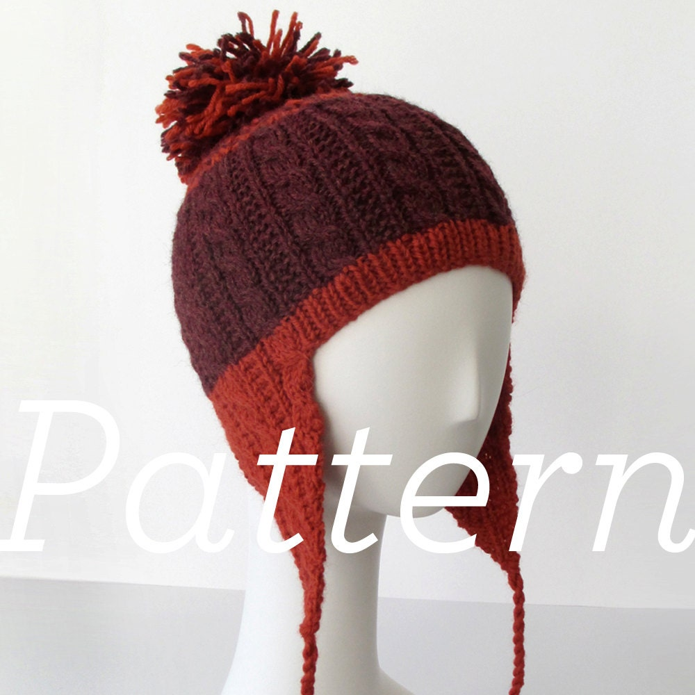 Knit Hat Pattern // Gingerbread Icing Ear Flap Hat pattern