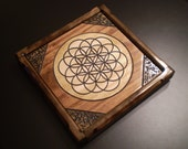 Flower of Life Mandala-  Wood Engraved Painting