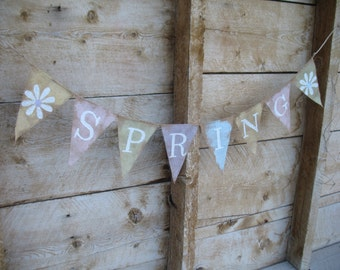 Painted pennant Spring Burlap Banner glittered white lettering and daisies. Home decoration, Easter decoration, spring decoration