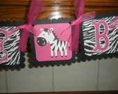Baby Zebra Banner, Baby Girl Banner, Baby Shower Banner, Welcome Baby Hot Pink Zebra Banner,  Matching Pom Poms Available