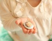 Blush Antique Silver Locket Necklace - Pick Your Rose Color - Blush Wedding - Flowergirl Necklace - Bridesmaid Necklace - Baby Necklace