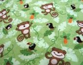 Cute Monkey Flannel Green Quilting Fabric 3/4 yard, brown orange