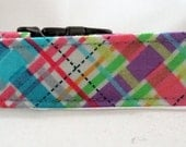 Dog Collar - Dog,  Martingale or Cat Collar - All Sizes -  Pink Biasplaid