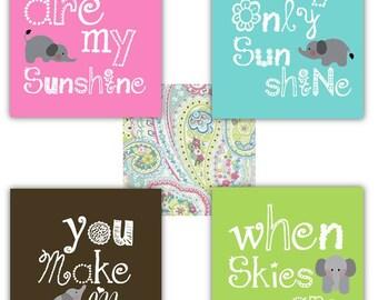 Elephant Art // You are my sunshine Art Prints // Elephant Nursery Decor // Baby Girl Nursery Art // Art for Girls // 4-8x10 PRINTS ONLY