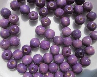 Purple Wood Beads 16mm 20 Beads