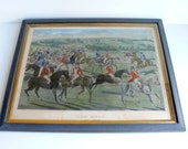 antique 19thc. hand tinted hunting print - artyfactz