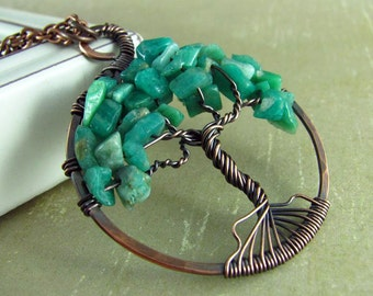 Tree Of Life Pendant Wire Wrapped Jewelry Copper Jewelry Green Amazonite Necklace Wire Wrapped Pendant Tree Necklace