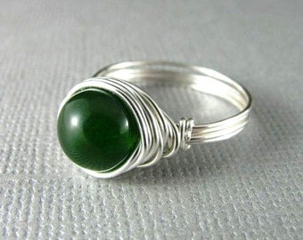 Wire Wrapped Ring Green Quartzite Ring Wire Wrapped Jewelry Nickel Free