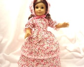 Shades of pink floral, long dress for 18 inch dolls, double skirted, with light pink lace trim.