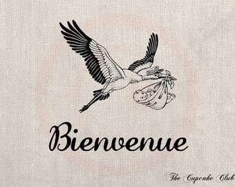 Custom Clip Art Design Transfer Digital File Vintage Download DIY Scrapbook Shabby Chic Pillow French Baby Welcome Stork No. 0621