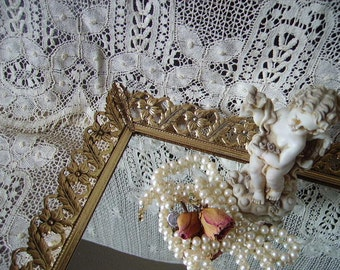 Feathers and flowers, Vintage Metal Filigree Vanity Mirror, goldtone, French country, romantic cottage, art Noveau