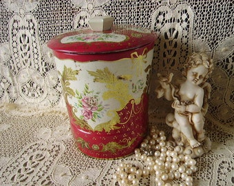 Vintage tin canister, red gold and white,time worn, victorian romantic, floral design