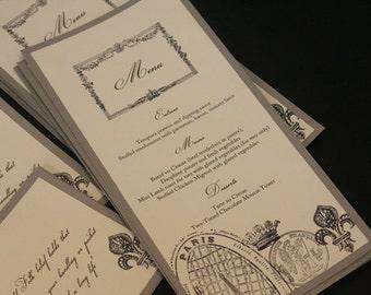 Popular Items For Wedding Menu Card On Etsy