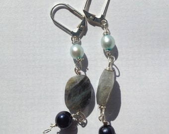Silver Plated Blue Pearl Labradorite Earrings, Etsy Jewelry, Lilyb444,