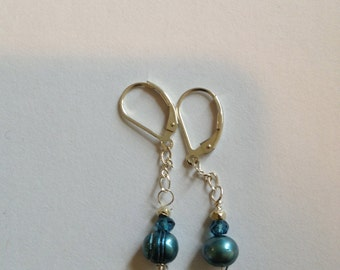 London blue topaz, Teal Apatite, Teal Pearl, Pyrite  Silver Earrings, Etsy jewelry, Etsy wedding, lilyb444