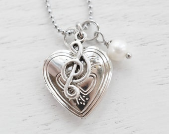Silver Heart Locket Musical Charm Necklace,Silver Locket,Music Note Heart Locket Pendant,Keepsake Necklace,For Musician Friend,G Clef Locke